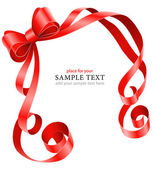 Greeting card template with red ribbon and bow — Vecteur