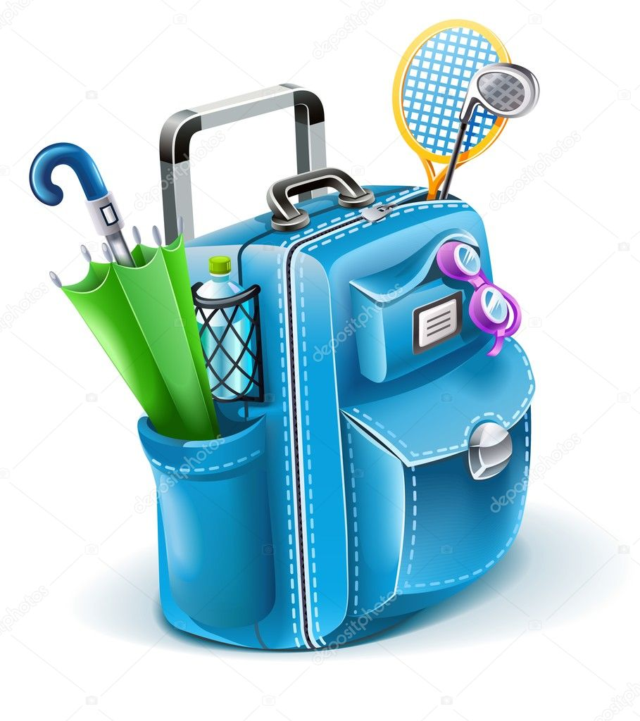 Travel bag with objects for entertainment vector illustration isolated on white background — Stock Vector #5984069