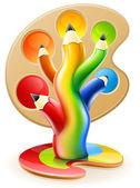 Tree of colour pencils creative art concept — Stock Vector