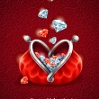 Diamond falling into purse with heart — Stock vektor