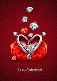 Diamond falling into purse with heart — Stockvector