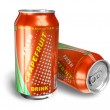 Grapefruit soda drinks in metal cans — Stock Photo