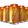 Set of orange soda drinks in metal cans — Stock Photo