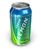 Lemon soda drink in metal can — Stock Photo