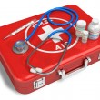 Stockfoto: Stethoscope, thermometer and drugs on red first aid case