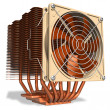 Powerful copper CPU cooler with heatpipes — Stock Photo