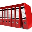 Row of red office folders — Stock Photo #5442872