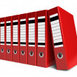 Stock Photo: Row of red office folders