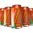 Set of grapefruit soda drinks in metal cans — Stock Photo