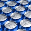 Macro of metal cans with refreshing drinks or beer — Stock Photo
