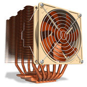 Powerful copper CPU cooler with heatpipes — 图库照片