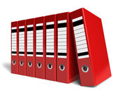 Row of red office folders — Stock Photo