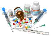 Termometre, uyuşturucu ve üzerinde beyaz izole şırınga — Stok fotoğraf