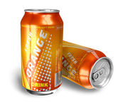 Orange soda drinks in metal cans — Stock Photo