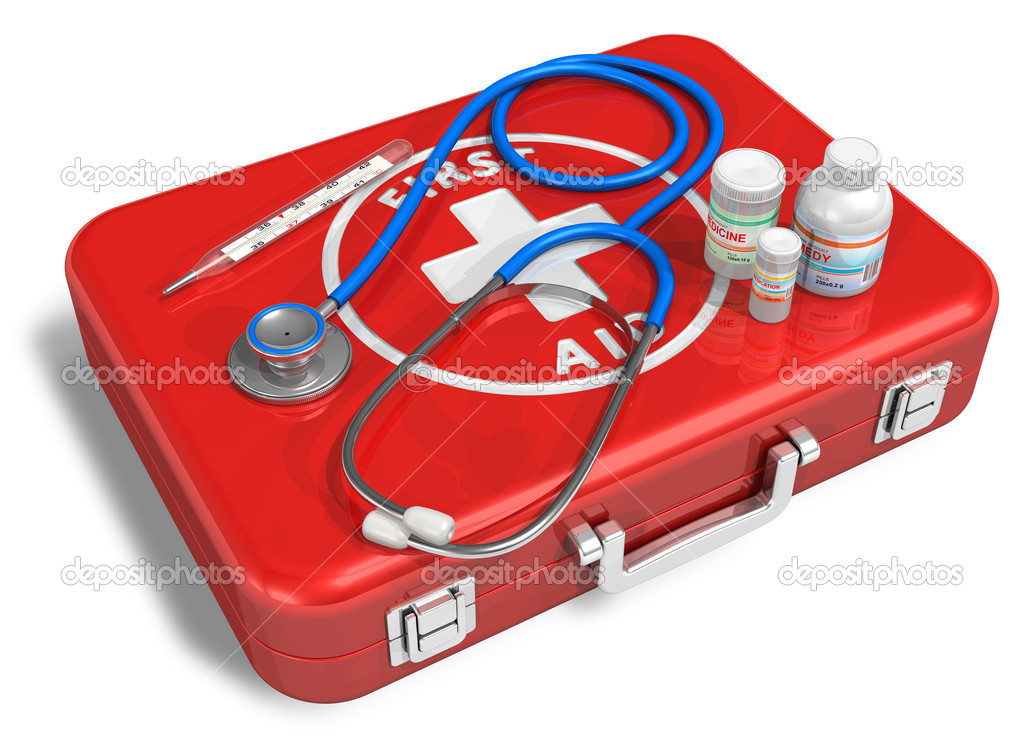 Stethoscope, thermometer and drugs on red first aid case — Stock Photo #5442848