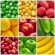 Stock Photo: Fresh fruits and vegetables collage