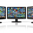 Multiple monitors with image gallery - Stock Photo