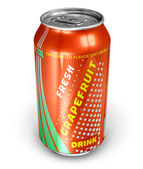 Grapefruit soda drink in metal can — Stock Photo