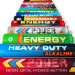 Row of AA batteries - Stock Photo