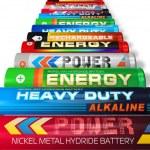 Row of AA batteries — Stock Photo