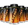 Energy drinks in metal cans - Stock Photo