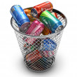 Recycling concept: drink cans in the trash bin — Stock Photo