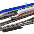 Stock Photo: Miniature high speed trains