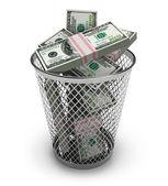 Dollars in the trash bin — Stock Photo