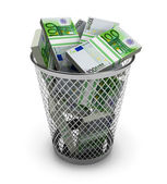 Euro in the trash bin — Stock Photo