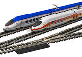 Miniature high speed trains — Stockfoto
