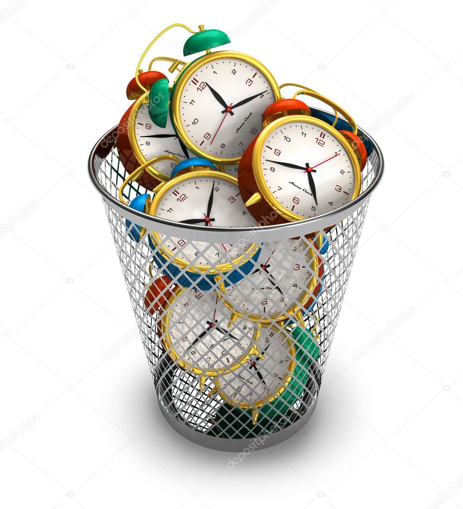 Wasting time concept: alarm clocks in the trash bin — Stock Photo #5572929