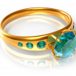 Golden ring with emeralds — Stock Photo