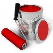 Can with red paint and roller brush — Stock Photo