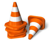 Set of orange traffic cones — Stock Photo