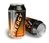 Energy drinks in metal cans — Stock Photo