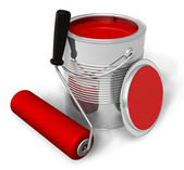 Can with red paint and roller brush — Stockfoto