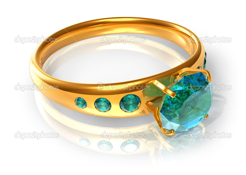 Golden ring with emeralds — Stock Photo #5612033