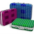 Set of color travel cases — Stock Photo
