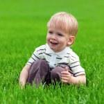 Smiling little boy sitting in fresh grass — Stock Photo #5665067
