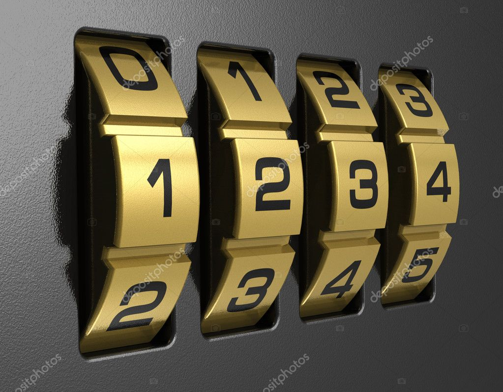 Close view of metal 4-digit combination lock — Stock Photo #5665099