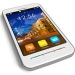 Stylish white touchscreen smartphone — Stock Photo