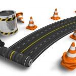 pintura da estrada com escova de rolo — Foto Stock