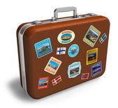 Viaggio valigia di cuoio con etichette — Foto Stock