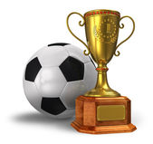 Golden trophy cup and soccer ball — Stock Photo