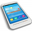White touchscreen smartphone - Foto Stock