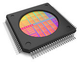 Microchip with visible die — Foto Stock