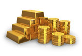 Stacks of golden ingots and coins — Stock Photo