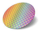 Silicon wafer with processor cores — Stock Photo
