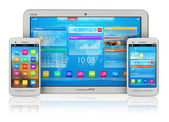 Tablet PC and smartphones — Stock Photo