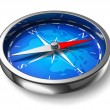 Blue metal compass - Stock Photo